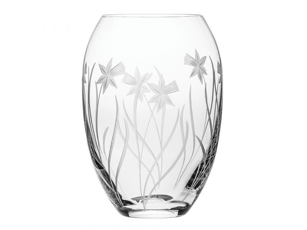 Medium Royal Scot Crystal Daffodil Barrel Vase
