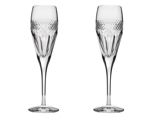 Pair of Royal Scot Crystal Diamonds Champagne Flutes