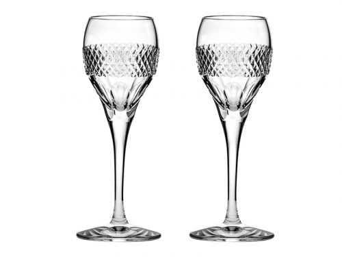 Pair of Royal Scot Crystal Diamonds Port / Sherry Glasses