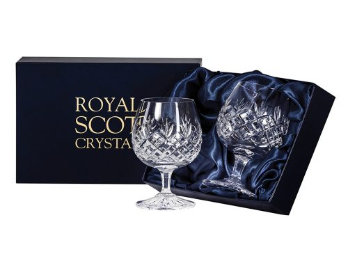 Pair of Royal Scot Crystal Edinburgh Brandy Glasses