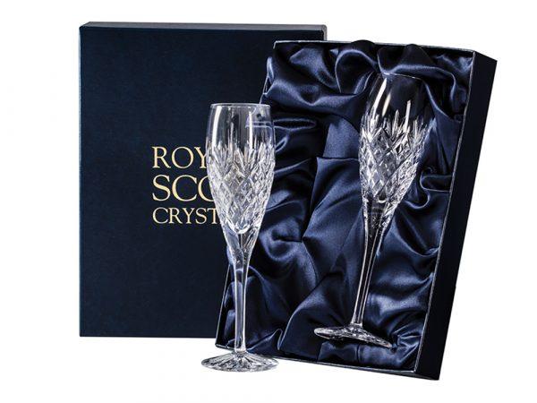 Pair of Royal Scot Crystal Edinburgh Champagne Flutes