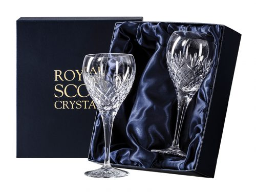 Pair of small Royal Scot Crystal Edinburgh Wine Glasses