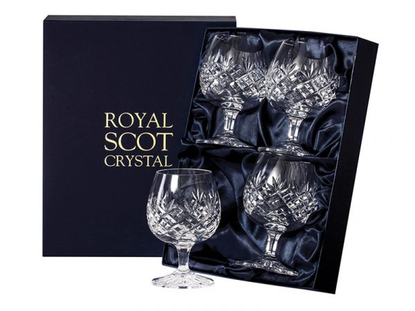 Set of 4 Royal Scot Crystal Edinburgh Brandy Glasses