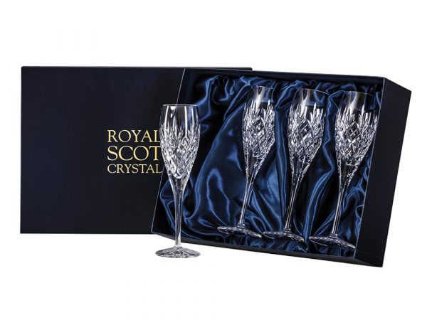 Set of 4 Royal Scot Crystal Edinburgh Champagne Flutes
