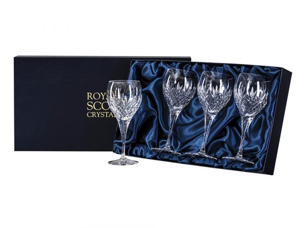 Set of four large royal scot crystal edinburgh wine glasses