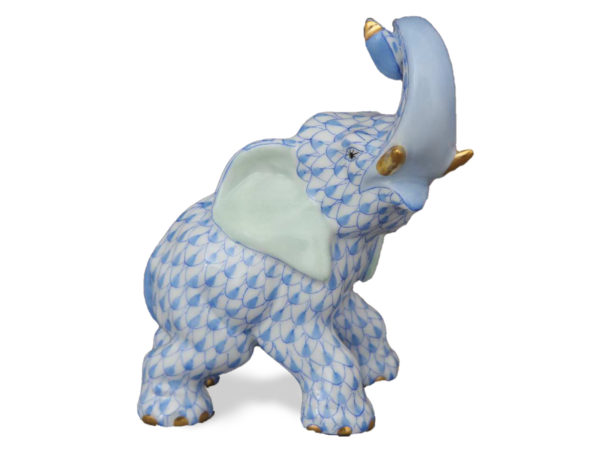 Herend Porcelain Elephant in Blue