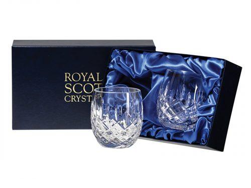 Pair of Royal Scot Crystal Barrel Tumblers