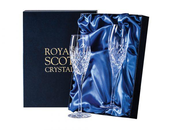 Royal Scot Crystal London Flutes as a pair