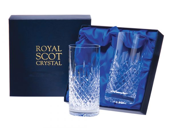 Pair of 2 Royal Scot Crystal London Tall Tumblers