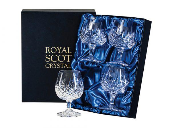 Set of Four Royal Scot Crystal London Brandy Glasses