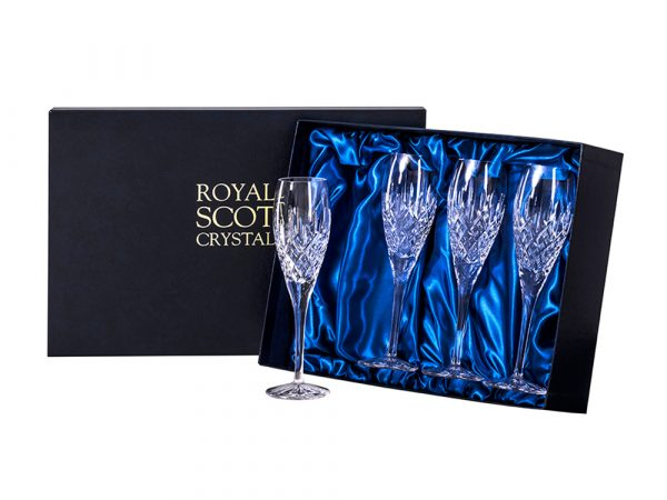 Set of Four Royal Scot Crystal London Champagne Flutes
