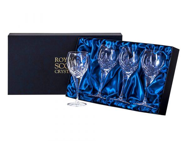 Set of four large Royal Scot Crystal London Wine Glasses