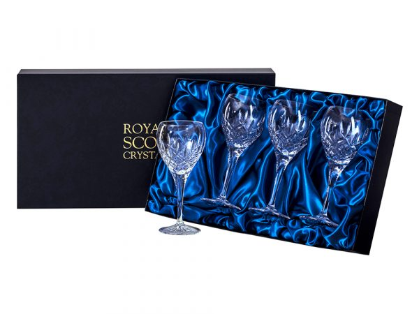 Set of four small Royal Scot Crystal London Wine Glasses