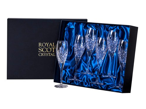 Set of 6 Royal Scot Crystal London Champagne Flutes