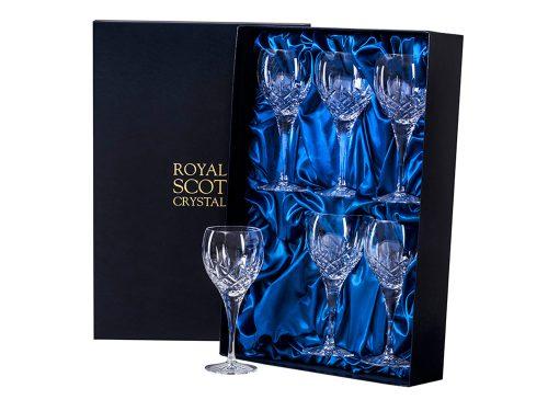 Set of six large Royal Scot Crystal London Wine Glasses