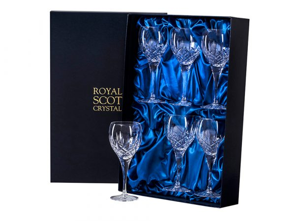 Set of six large Royal Scot Crystal London Wine Glasses