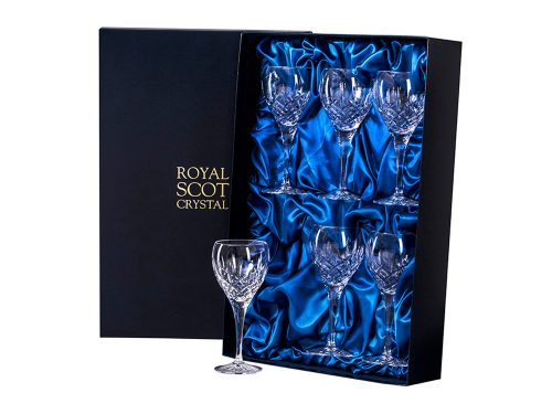 Set of six small Royal Scot Crystal London Wine Glasses