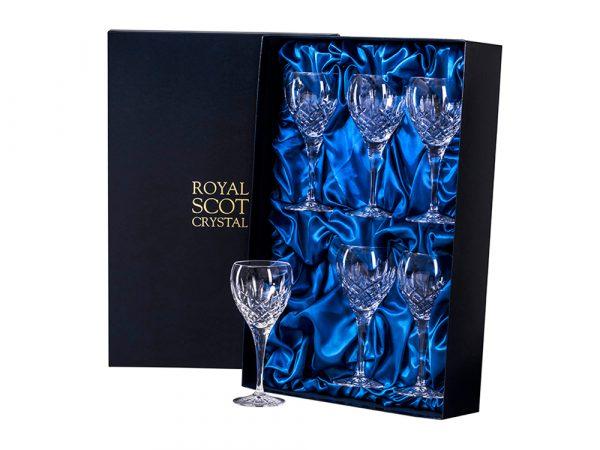 Set of six small Royal Scot Crystal London Wine Glasses