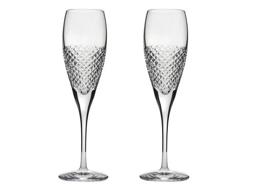 Pair of Royal Scot Crystal Tiara Champagne Flutes