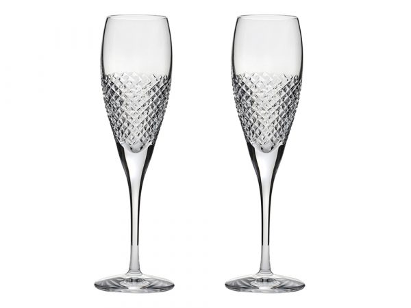 Pair of Royal Scot Crystal Tiara Champagne Flutes