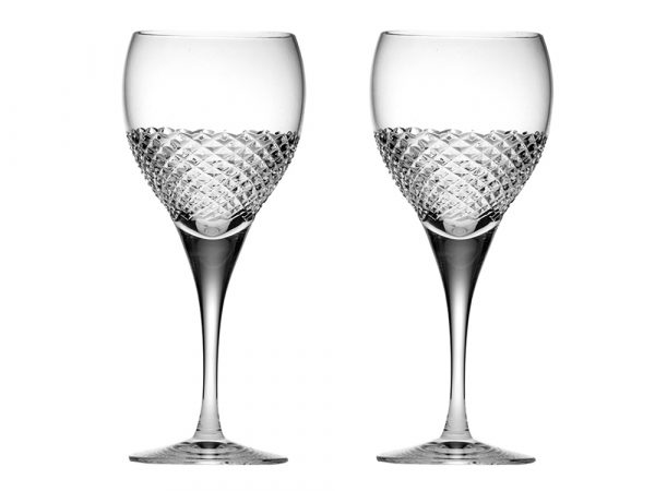 Pair of Large Royal Scot Crystal Tiara Wine Glasses