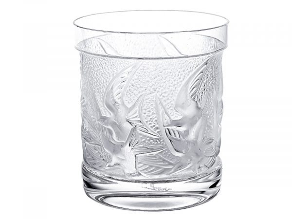 LALIQUE HIRONDELLES OLD FASHION TUMBLER