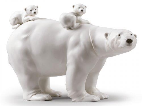 Lladro Porcelain Mummy Bear And Babies 01009290