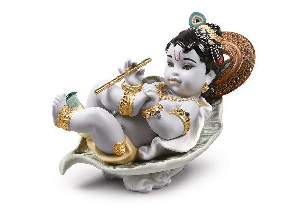 Lladro Porcelain Krishna On Leaf 01009370