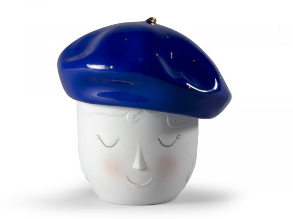 Lladro Porcelain Lane Beret Box (Blue-Gold)