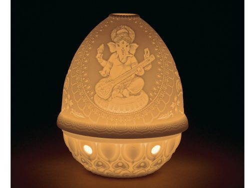 Lladro Lithophane Votive Light Veena Ganesha 01017390