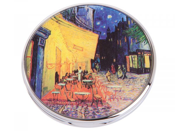 "This beautifully crafted pocket mirror by John Beswick comes with a stunning extract from Vincent Van Gogh painting of ""Terrasse Du Cafe Le Soir"". Terrace Du Cafe le Soir was painted on a mid-September night in Arles, France. Size: Diameter: 7 cm - 3"". By John Beswick. Product Code: M08GO(S)"