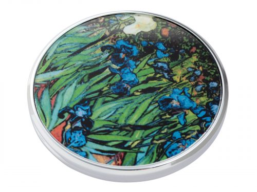 "This beautifully crafted pocket mirror made by John Beswick comes with a stunning extract from Vincent Van Gogh's ""Irises"". A painting that comes from a series of paintings that Van Gogh made at the Saint Paul-de-Mausole asylum in Saint-Remy-de-Provence during the last year before his death in 1890. Size: Diameter: 7 cm - 3"". By John Beswick. Product Code: M09GO(S)"