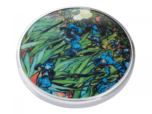 """This beautifully crafted pocket mirror made by John Beswick comes with a stunning extract from Vincent Van Gogh's """"Irises"""". A painting that comes from a series of paintings that Van Gogh made at the Saint Paul-de-Mausole asylum in Saint-Remy-de-Provence during the last year before his death in 1890. Size: Diameter: 7 cm - 3"""". By John Beswick. Product Code: M09GO(S)"""
