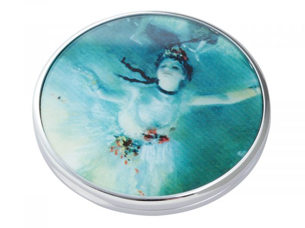 """Edgar Degas was a French artist famous for his paintings, sculptures, prints, and drawings. He is especially identified with the subject of dance; more than half of his works depict dancers. This beautifully crafted pocket mirror by John Beswick features an Extract from his """"Ballerina"""" painting. Size: Diameter: 7 cm - 3"""". By John Beswick. Product Code: M14DE(S)"""