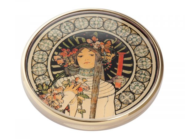 "This beautifully crafted pocket mirror by John Beswick comes with a stunning extract from the French lithograph ""La Trappistine"" which was created by the Czech artist/Designer Alphonse Mucha. La Trappistine was a liqueur made in Paris, allegedly from a recipe handed down by Trappist monks. Size: Diameter: 7 cm - 3"". By John Beswick. Product Code: M21MU(G)"