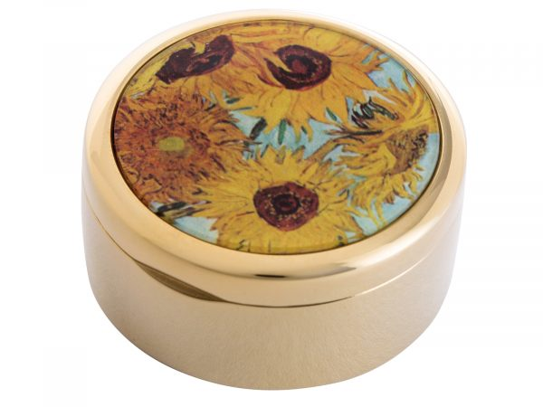"This beautifully crafted pocket mirror made by John Beswick comes with a stunning extract from Vincent Van Gogh's ""Sunflowers"" painted in 1888. Vincent Van Gogh's Sunflowers is made of two separate paintings, one painted in 1987 was of sunflowers laid on the ground, the second a year later in 1988 with sunflowers in a vase. Size: Diameter: 5 cm - 2"" By John Beswick Product Code: P01GOG(G)"