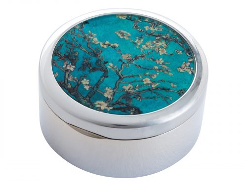 "This beautifully crafted Pillbox by John Beswick comes with a stunning extract from Vincent Van Gogh's ""Almond Blossom"" Painted in 1888 in France. Flowering trees were special to Vincent Van Gogh they represented awakening and hope. He enjoyed them aesthetically and found joy in painting flowering trees. Size: Diameter: 5 cm - 2"" By John Beswick Product Code: P02GOG(S)"