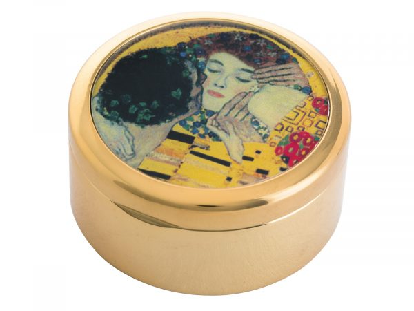 """This beautifully crafted pocket mirror by John Beswick comes with a stunning extract from Gustav Klimt's painting of """"The Kiss"""". Gustav Klimt was an Austrian symbolist painter and one of the most prominent members of the Vienna Secession movement. This famous Klimt piece was painted in 1908/9 and depicts a couple embracing, their bodies entwined in elaborate robes decorated with oil paint infused with gold leaf."""