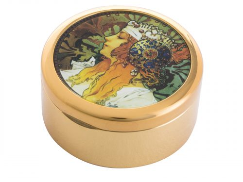 "This beautifully crafted pocket mirror by John Beswick comes with a stunning extract from Alphonse Mucha's ""Byzantines Heads"", originally a pair (Blonde and Brunnette) this pocket watch shows the head of the Blonde woman who wears a white scarf in her hair embellished with jewels and an ornate metal disk fringed with pearls."