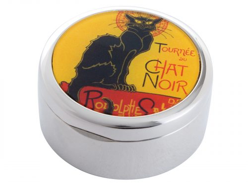 "Le Chat Noir was a nineteenth-century entertainment establishment, in the bohemian Montmartre district of Paris. This beautifully crafted pocket mirror by John Beswick comes with a stunning extract from painter/designer Theophile Steinlen's Poster Art advertising the ""Tour"" of Le Chat Noir's troupe of cabaret entertainers."