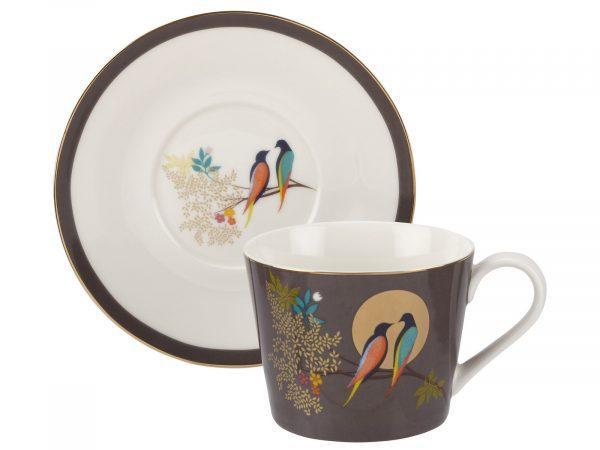 Sara Miller London Dark grey Tea Cup & Saucer