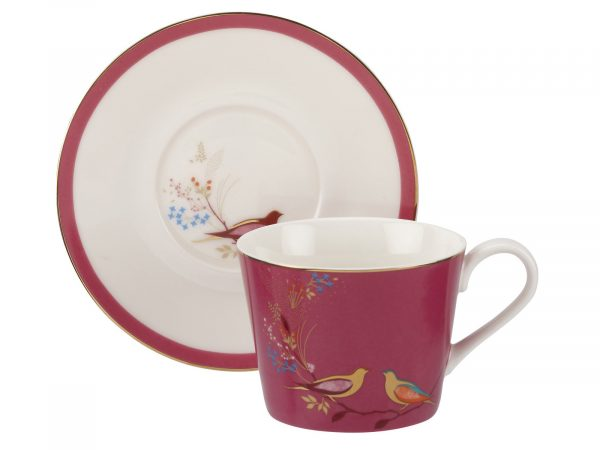 Sara Miller London Chelsea Collection Pink Tea Cup and Saucer