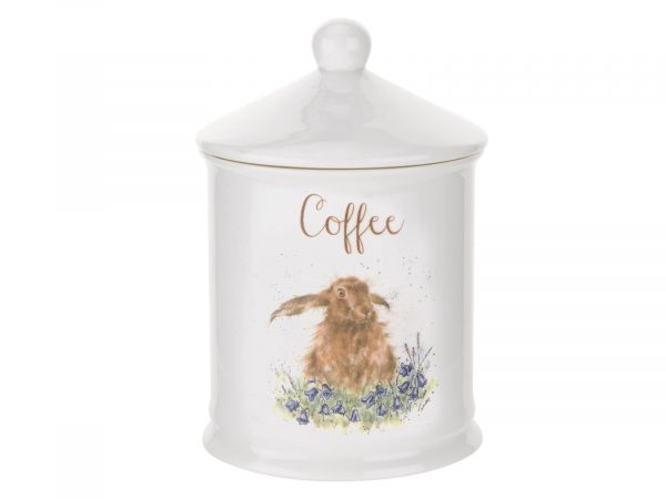 "This Coffee Canister is decorated with a cute intricate Hare. With its beautiful simplistic design, it's a perfect gift for any animal lover. Size: 10cm Diameter 14.5cm Height - 4"" Diameter 5.75"" Height. By: Wrendale. Product Code: WNC3996-XW."