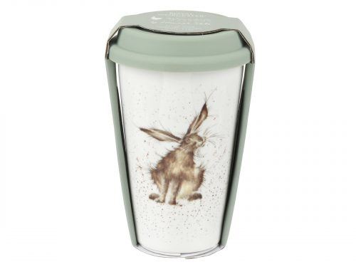 This Travel mug is decorated with a cute intricate Hare. With its beautiful simplistic design, it's a perfect gift for any animal lover. Size: 0.31L - 11fl.oz. By: Wrendale. Product Code: WNKE78753-XW.