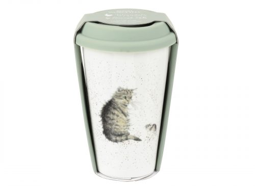 This Travel Mug features a beautiful little grey cat. A perfect gift for any cat lover. Size: 0.31L - 11fl.oz. By: Wrendale. Product Code: WNLU78753-XW.