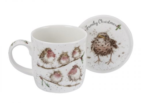 "A beautiful family of Robins perched on a branch, With a matching coaster, its a must have this Winter. Size: Mug 0.31L Coaster 9.5cm - Mug 11fl.oz. Coaster 3.75"". By: Wrendale. Product Code: WNLX3943-XG."