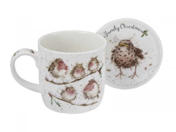 """A beautiful family of Robins perched on a branch, With a matching coaster, its a must have this Winter. Size: Mug 0.31L Coaster 9.5cm - Mug 11fl.oz. Coaster 3.75"""". By: Wrendale. Product Code: WNLX3943-XG."""