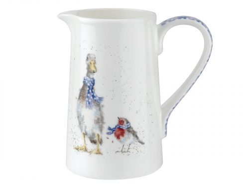 This Jug is decorated with a Goose and Robin, all dressed up in a vibrant blue polka dot scarf, out for an adventure in the snow. A beautiful Jug to pour a beautiful drink. Size: 0.60L - 1pt. By: Wrendale. Product Code: WNOA3921-XT.