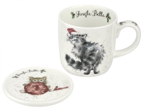 """This Mug features a lovely illustration of Cat wearing a Christmas hat, its accompanying Coaster has a cute little kitten playing with a big red bauble. Perfect Christmas Mug for your perfect Christmas Brew. Size: Mug 0.31L Coaster 9.5cm - Mug 11fl.oz. Coaster 3.75"""". By: Wrendale. Product Code: WNOY3943-XG."""