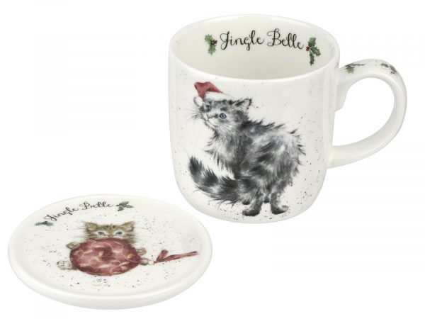 "This Mug features a lovely illustration of Cat wearing a Christmas hat, its accompanying Coaster has a cute little kitten playing with a big red bauble. Perfect Christmas Mug for your perfect Christmas Brew. Size: Mug 0.31L Coaster 9.5cm - Mug 11fl.oz. Coaster 3.75"". By: Wrendale. Product Code: WNOY3943-XG."